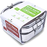 ecozoi Stainless Steel 3-in-1 Square Eco Lunch Box for Kids & Adults | Bonus Tray | Sustainable Zero Waste Eco Friendly Bento Box Food Storage Container