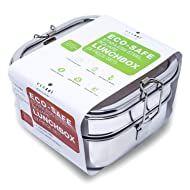 ecozoi Stainless Steel 3-in-1 Square Eco Lunch Box Metal Bento Box | Bonus Inner Tray | Sustainable Zero Waste Eco Friendly Food Storage Container
