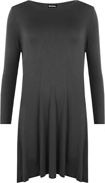 258c7f8f51 WearAll Damen Swing-Kleid, Übergröße, einfarbig, langärmelig, Stretch, Gr.