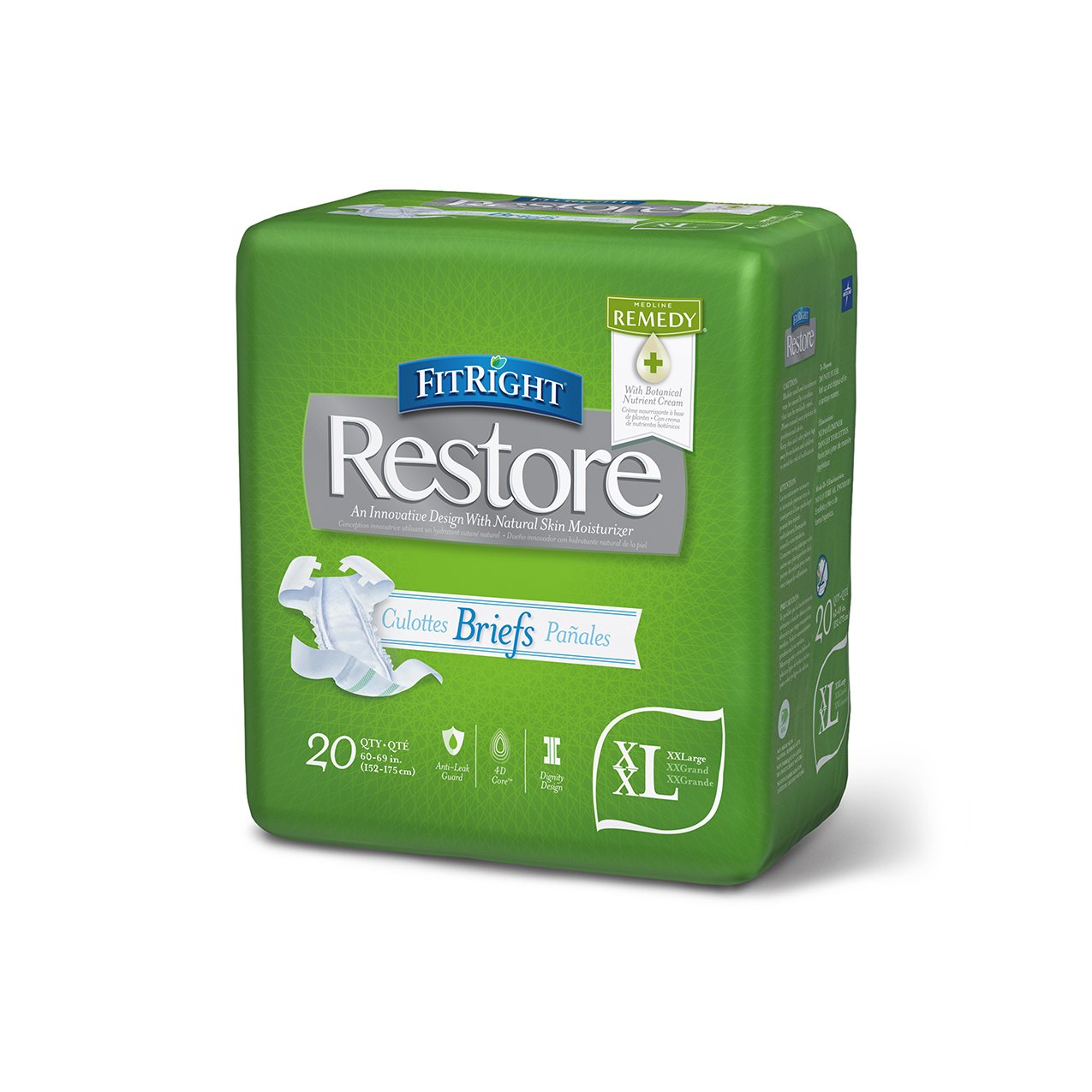 FitRight Restore Adult Briefs with Tabs, Heavy Absorbency, XX-Large, 60''-69'', For Adult Incontinence, Comfort and Skin Health (Pack of 80)