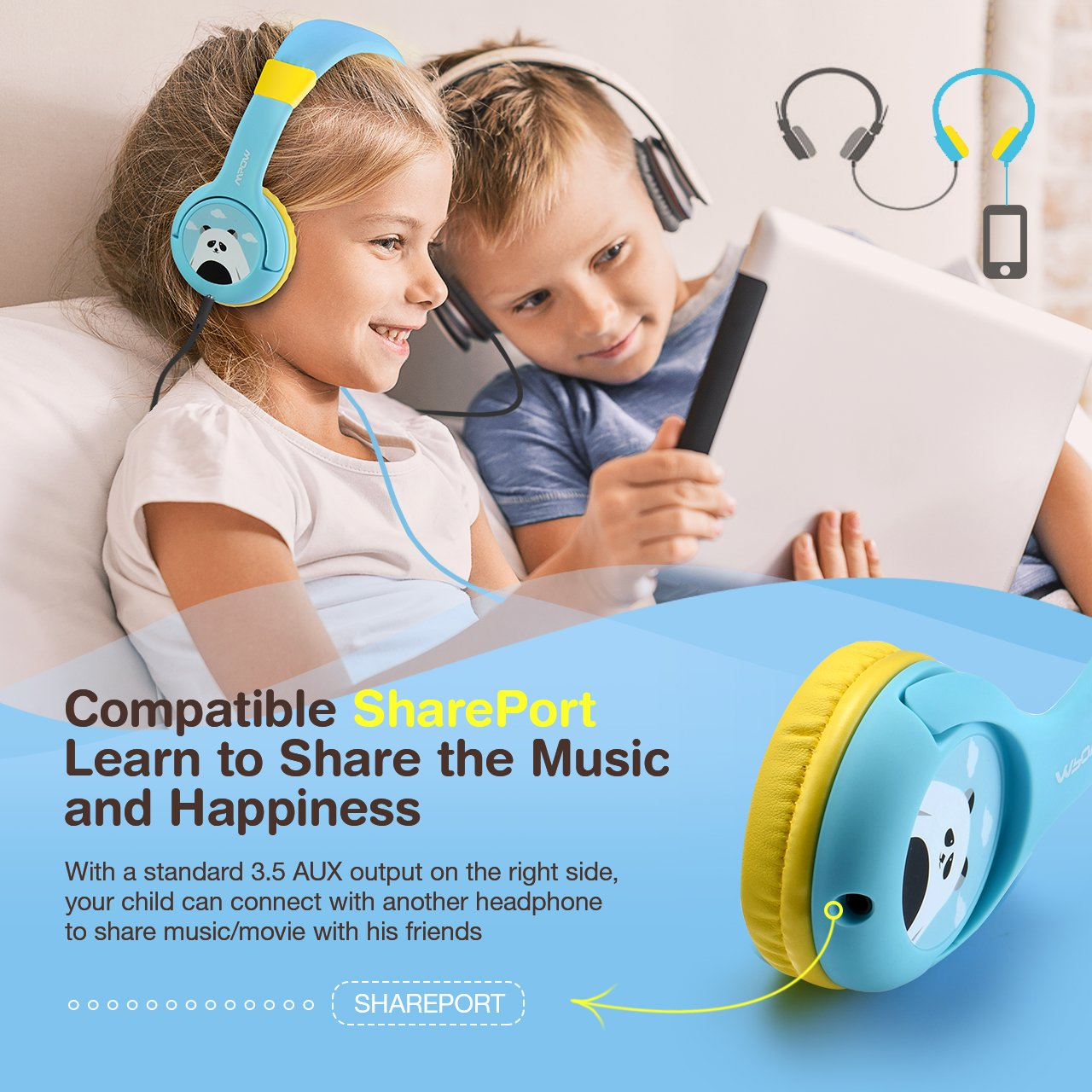 Mpow Kids Headphones with 85dB Volume Limited Hearing Protection & Music Sharing Function, Kids Friendly Safe Food Grade Material, Tangle-Free Cord, Wired On-Ear Headphones for Children Toddler Baby by Mpow (Image #3)