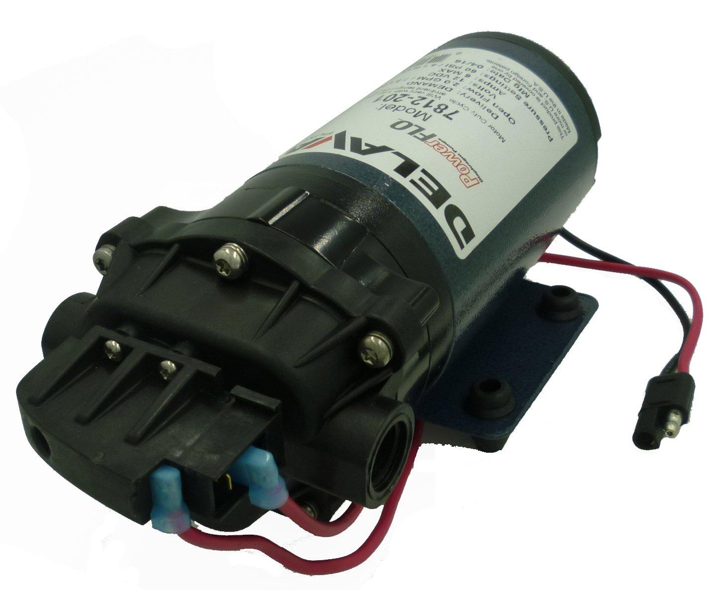 Delavan 7812-201-SB Series Diaphragm Pump 12V, 60 PSI, 2.0 GPM, Demand Pump W/ 3/8'' FNPT Ports