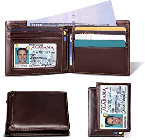 Sweepstakes: Mens Wallet RFID Genuine Leather Slim Bifold Wallets For...