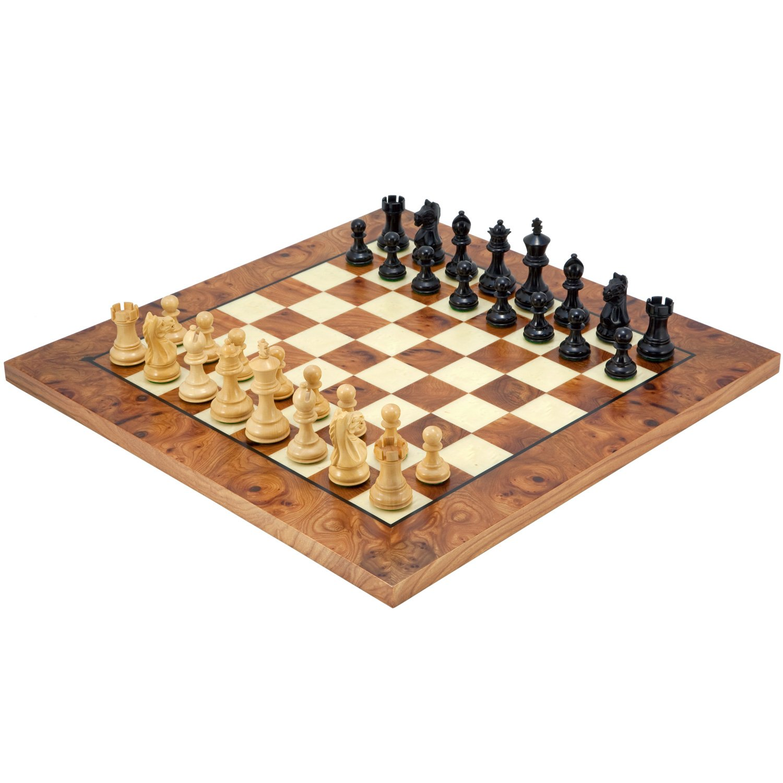 The Heftige Ritter Ebenholz Wurzelholz Schach Set