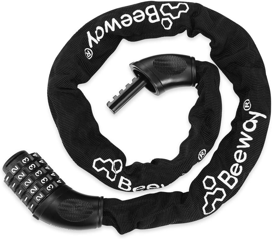 Combination Bicycle Chain Lock BEEWAY Bike Lock Heavy Duty Resettable 5-digit Password High Security Anti-theft Locks Universal for Motorbike Gate Fence Garage Glass Door Tools Black/®