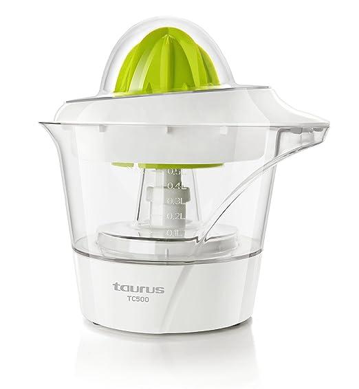 TAURUS TC-500 TC-500-Exprimidor, 2 conos de distintos tamaños, rotación de doble sentido, 40 W, 0.5 litros, 0 Decibelios