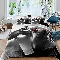 Feelyou Boys Gamepad Comforter Cover Gamer Bedding Set Teens Video Game Duvet Cover for Kids Youth Modern 3D Black Game…