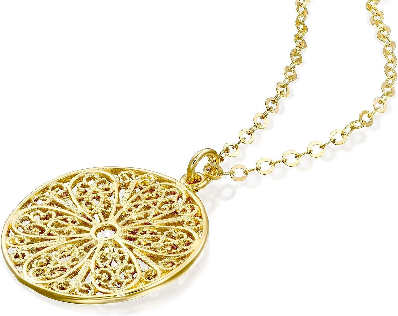 Amazon Com Stera Jewelry 14k Gold Plated Silver Ornate Filigree Design Round Pendant Necklace 18 4 Inches Jewelry