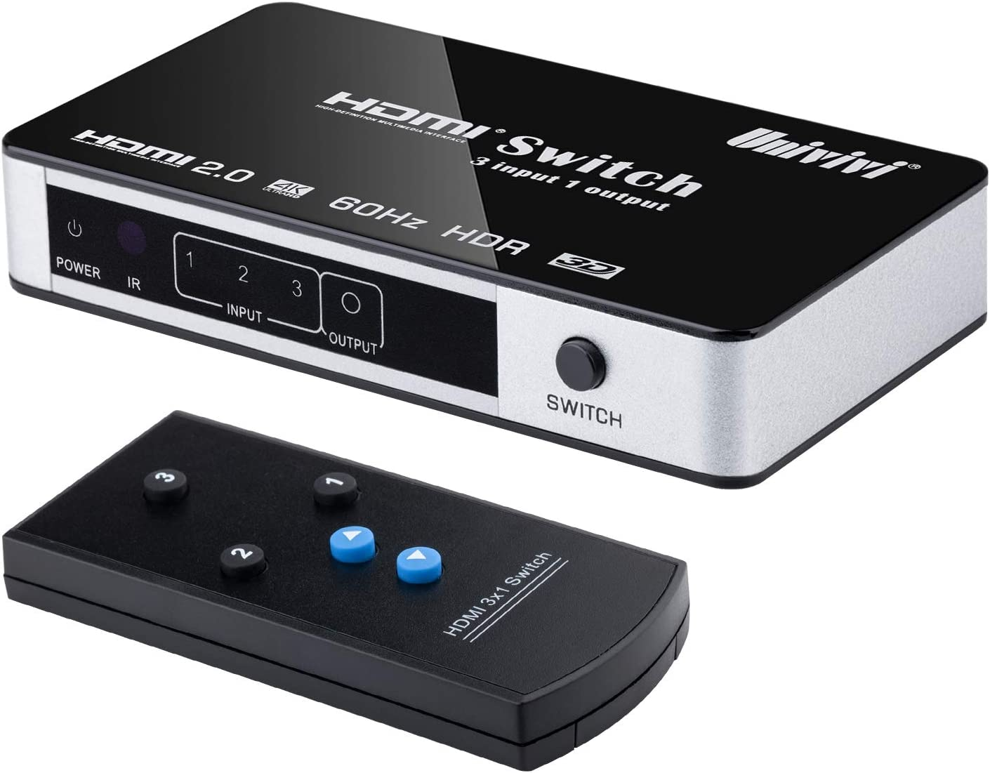 Univivi HDMI Switch 4k@60Hz 3 Port 3 x 1 HDMI 2.0 Switcher with Remote Control and Power Supply - Supports DTS-HD/Dolby-trueHD/LPCM7.1/DTS/Dolby-Ac3/DSD HD(HBR)