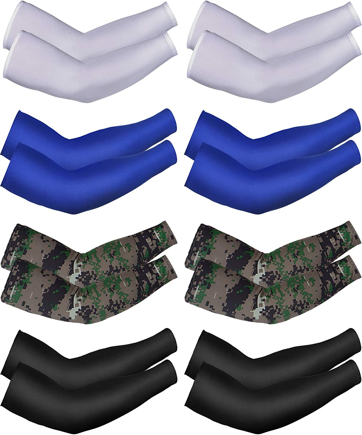 8 Pairs Unisex UV Protection Arm Cooling Sleeves Ice Silk Arm Cover