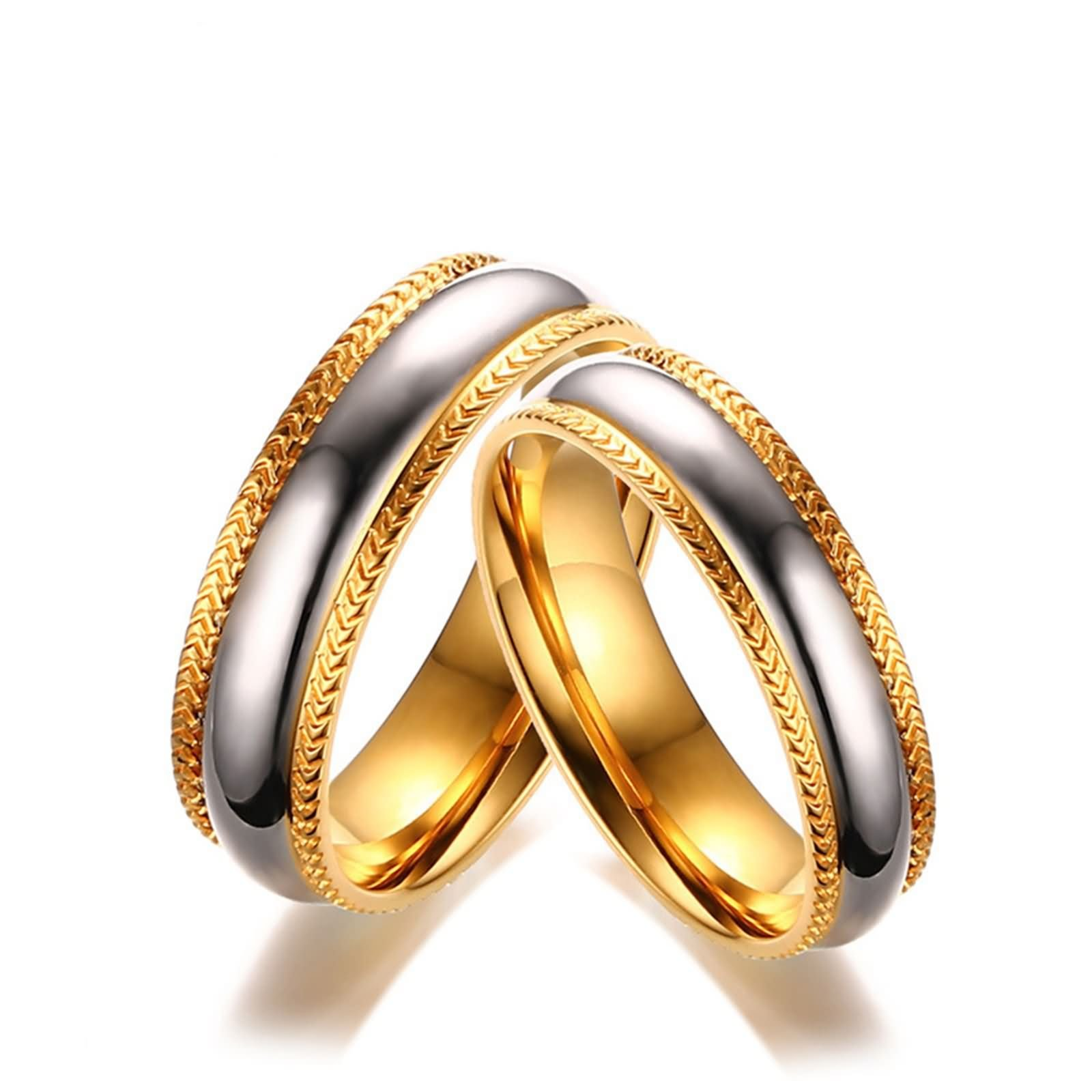 Beydodo Ring Set Wedding Stainless Steel Ring for Couples Two-tone Ring Women Size 6 & Men Size 12