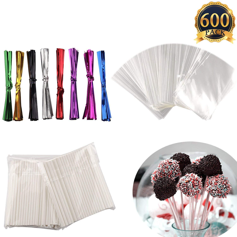 600 Pcs BPA-Free Lollipop Set Including 200 pack Lollipop treat Sticks,200 Pieces of Lollipop Parcel Bags and 200 Pieces of Wire Lines(8 Different Colors)