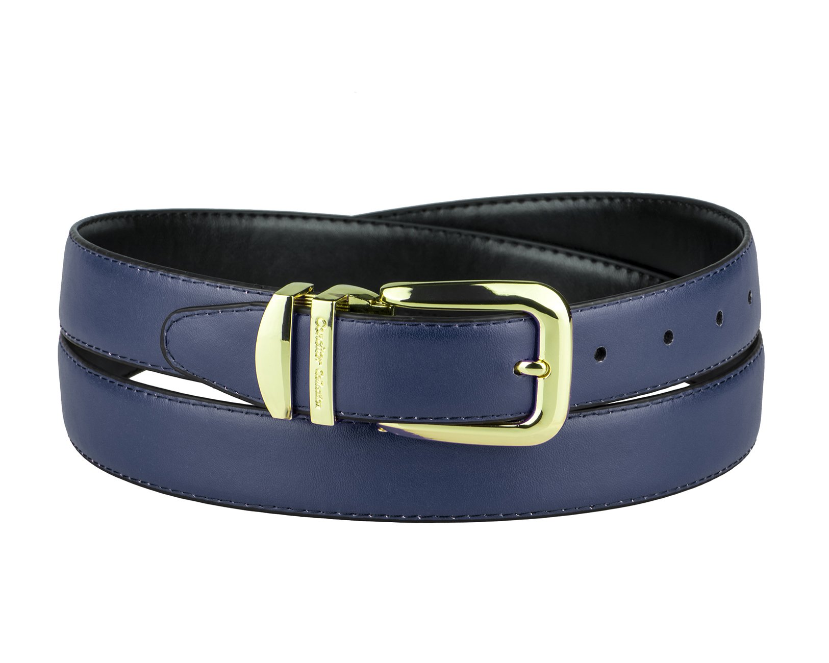 CONCITOR Reversible Belt NAVY BLUE & Black Bonded Leather Gold-Tone Buckle 44