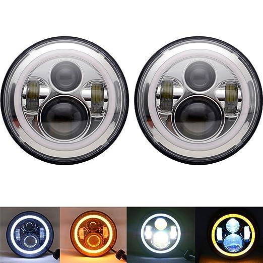 """3 opinioni per UNI 2X 7"""" Cromatura NASCOSTO LED faro LED per Harley Davidson proiettore"""