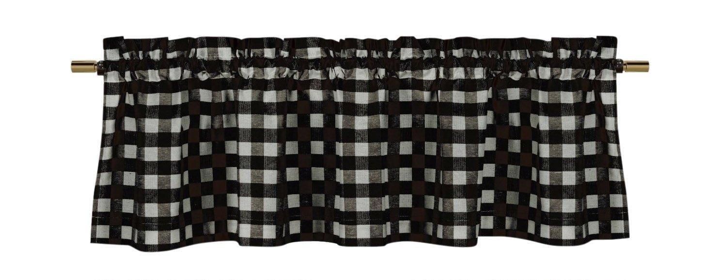 lovemyfabric Poly Cotton Gingham Checkered Plaid Design Kitchen Curtain Valance Window Treatment-Black