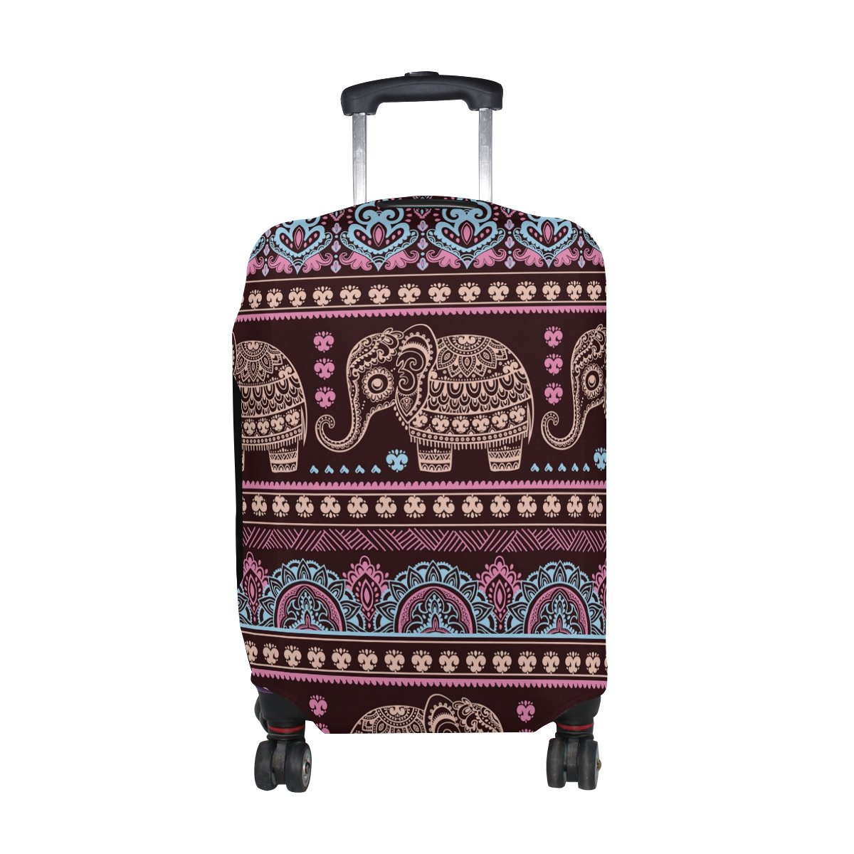 Hippie Indian Elephant Mandala Luggage Cover Travel Suitcase Protector Fits 23-26 Inch Luggage