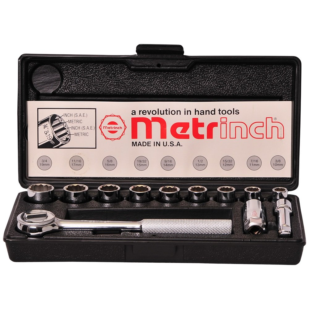 Original Metrinch USA 12pc 3/8 Drive 12 Point Socket & Ratchet Set by Metrinch
