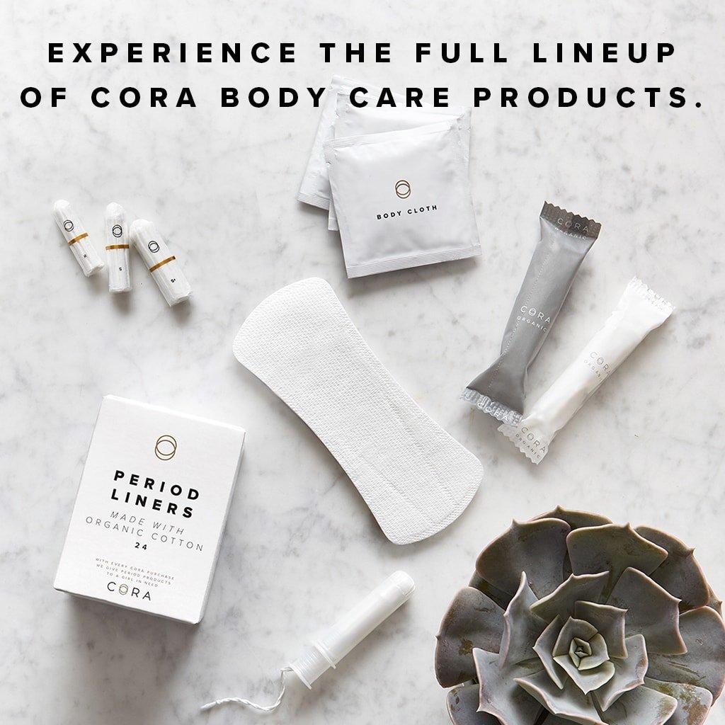 Cora Variety Pack - Organic Non-APPLICATOR Tampons (54 Count; 18 Regular / 18 Super / 18 Super Plus) APPLICATOR-Free