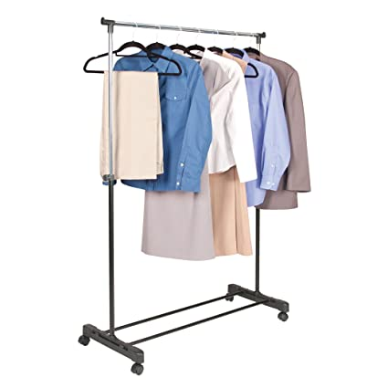 8a136db8ccb Amazon.com  ROLLING adjustable GARMENT rack CLOTHES hanging (adjusts from  32