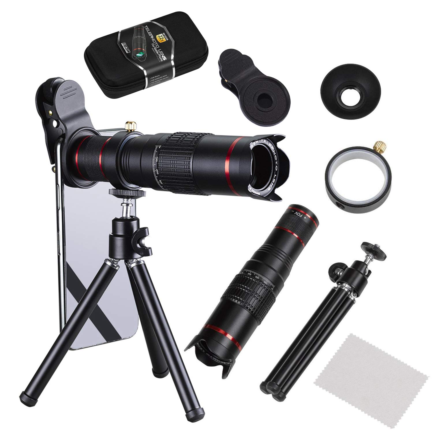 e8299ce7b76b61 Camera Lens,BECEMURU 22X Telephoto Zoom Camera Lens Kit Double Regulation  HD Scale Distance FOV Phone Lens Attachment with Tripod for iPhone X/8/7/7  ...