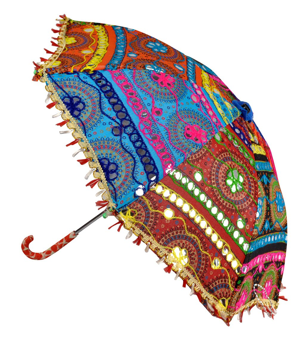 Indian Embroidered Work Design Cotton Umbrella 21 x 26 Inch