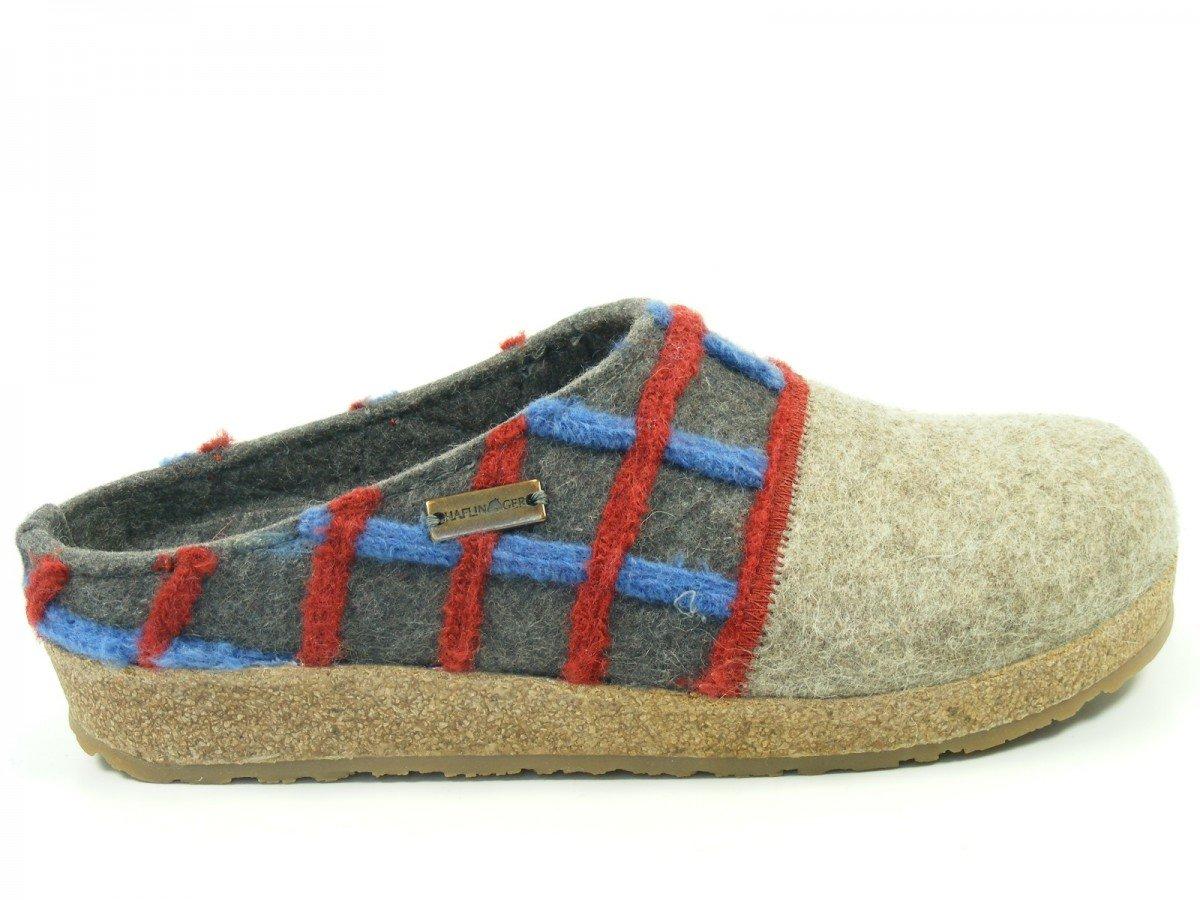 Haflinger Schuhe Damen Hausschuhe Pantoffeln Wolle Grizzly Web 731047, Schuhgröße:41;Farbe:Grau
