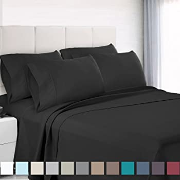 Premium 6 Piece Bed Sheet U0026 Pillow Case Set U2013 Luxurious U0026 Soft Queen Size  Linen, Extra Deep Pocket Super Fit Fitted Black Sheets, Bedroom Essentials,  ...