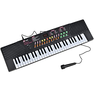 54 Keys Music Keyboard for Children's Mini Size Electronic Piano Organ Record Playback W/Mic & Adapter Portable External Speaker/Microphone/DC/AC Power: Musical Instruments