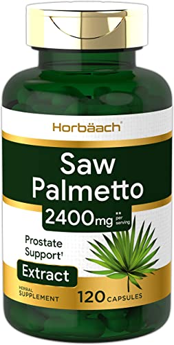 Saw Palmetto Extract 2400mg 120 Capsules Prostate Supplement for Men Gluten Free from Saw Palmetto Berries by Horbaach
