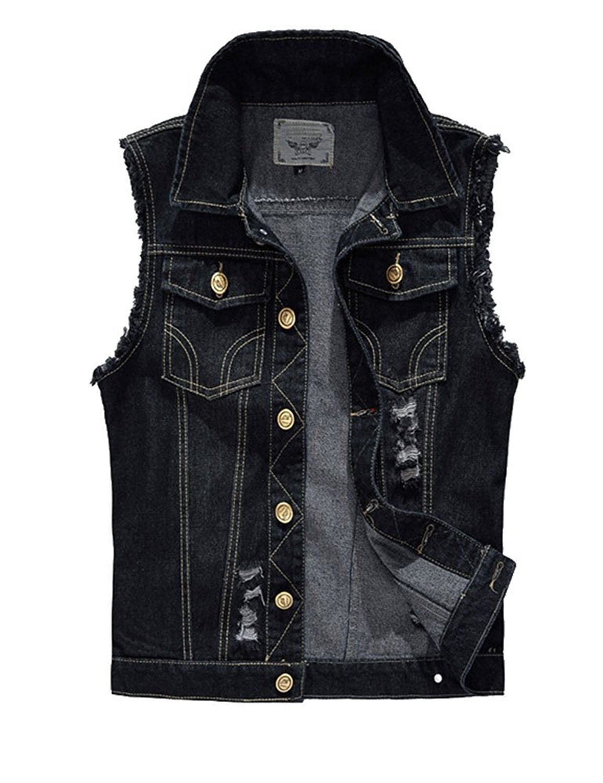 Idopy Men`s Retro Ripped Denim Jeans Vest Sleeveless Jacket (US M(Tag 4XL), Black)