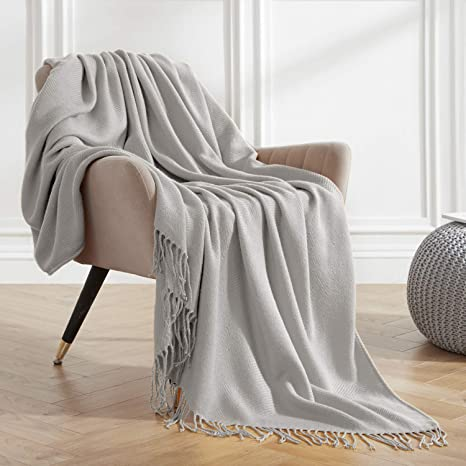 Veeyoo Sofa Throw Blanket Solid Soft Couch Throws Decorative Knitted Blanket With Fringe 50 X 65 Bed Throw Blankets For Travel Gray Amazon Ca Home Kitchen