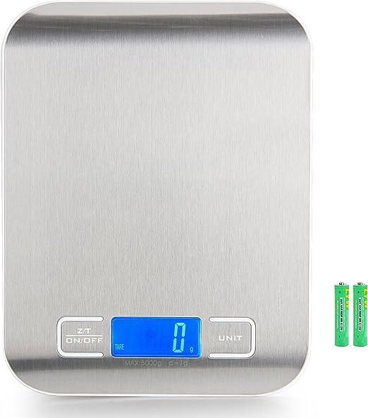 AMANKA Báscula Digital para Cocina de Acero Inoxidable,5 kg / 11 lbs Smart Digital Báscula para Hogares, Cocinas, Oficinas, Sala de Correo y Mucho Más: Amazon.es: Hogar