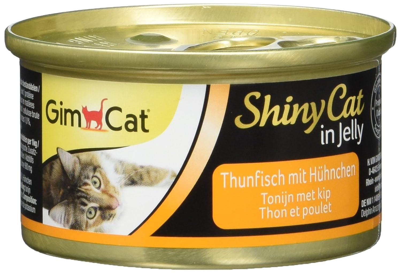 GimCat ShinyCat - Boîtes pour chats en gelée - Avec des morceaux de thon et de poulet - Lot de 24 x 70 g 413105 aliment humide alimentation chat alimentation chaton
