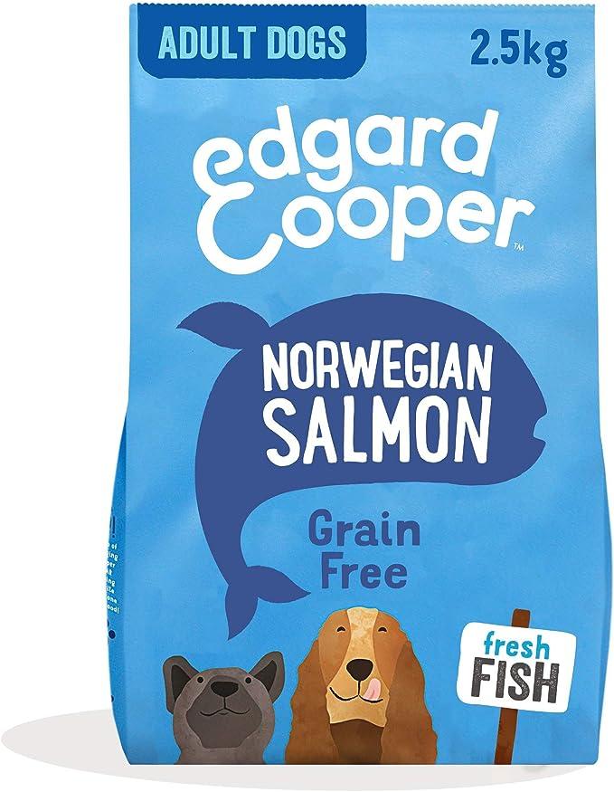 Edgard & Cooper | Salmón Noruego con Remolacha, Manzana, Mango y Grosella Frescos | Comida Seca para Perros Adultos | Sin Cereales | Hipoalergénico | Sin Gluten | 2,5 kg