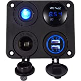 YonHan 4 in 1 Charger Socket Panel, Dual USB Socket Charger 2.1A + Blue LED Voltmeter + 12V Power Outlet + ON-OFF Toggle Switch, Four Functions panel for Car Boat Marine RV Truck Camper Vehicles