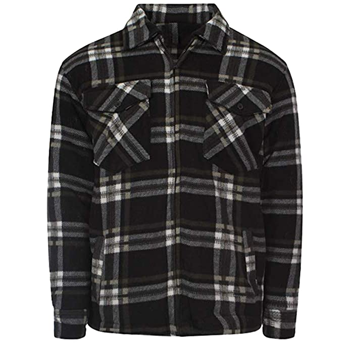 ShopOnline® New Mens Adults Quilted Fur Padded Work Lumberjack Flannel Shirt  TOP Long Sleeve Size 6bef74860