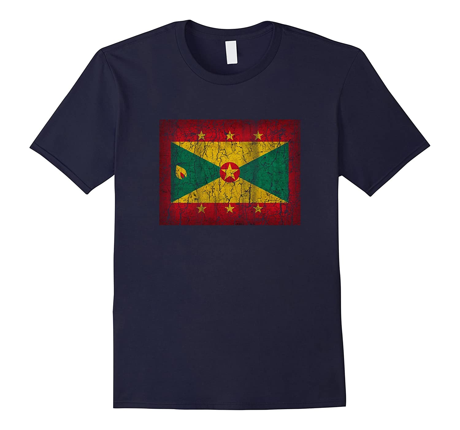 Patriotic Retro Flag of Grenada T-Shirt Distressed Graphic-Vaci