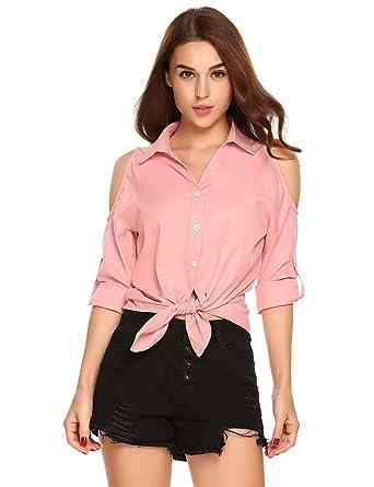 9dc384ca2c2bd3 etuoji Cold Shoulder t Shirt Pink Cold Shoulder top Cute Off The Shoulder  Shirts Blouses at Amazon Women's Clothing store: