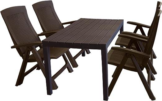 Ensemble de jardin table de jardin aspect bois 138 x 78 x 72 ...