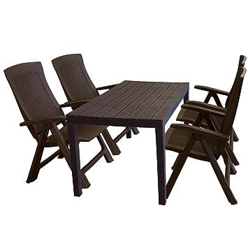 Ensemble de jardin table de jardin aspect bois 138 x 78 x 72 cm + 4 ...