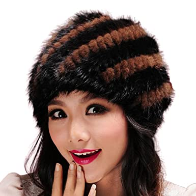 45549ec5074d0 Women's Knitted Fur Hat for Winter Warm Fur Beanie Hat with Mink Fur - Fur  Story