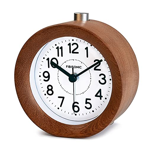 FIBISONIC Silent Clock Nightlight Snooze Classic Bedside Table Wood Bedroom  Office Alarm Clock,Walnut U2026