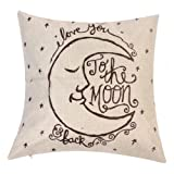 "Amazon Price History for:Onker Cotton Linen Square Decorative Throw Pillow Case Cushion Cover 18"" x 18"" Vintage I Love You to the Moon and Back"