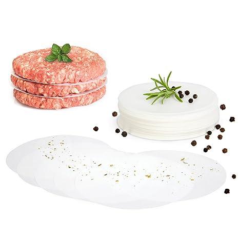 gourmeo Premium hamburguesas + 30 hojas de papel antiadherente   2 años Garantía de satisfacción.