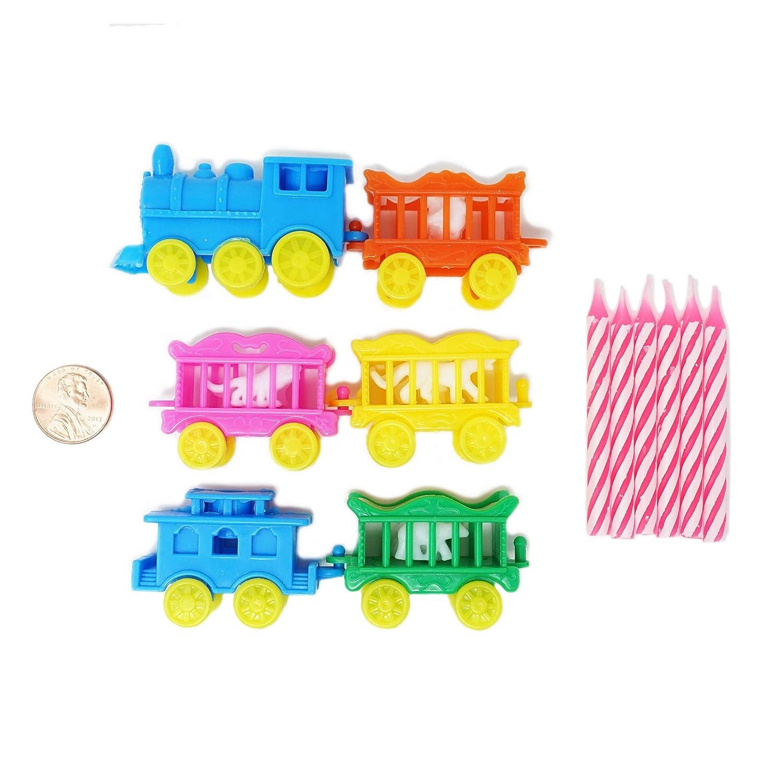 Vintage Animal tren vela soporte conjunto w/rosa velas ...