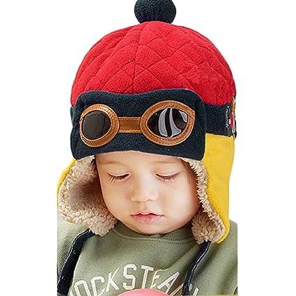 Tongshi Nuevos muchachos calientes del invierno del casquillo del sombrero  de la gorrita tejida piloto aviador 0770f44cbea