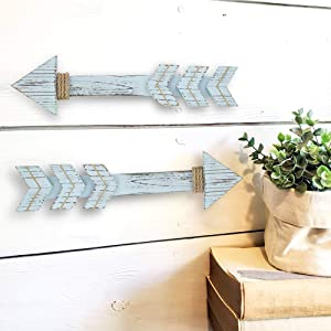 """Jackalope Supply 17"""" Wooden Arrow Decor (Lagoon Blue) 17"""" with Gold & Burlap Rope. Set of 2 Barnyard Style Hanging Arrow Signs for Decorative Home Art"""