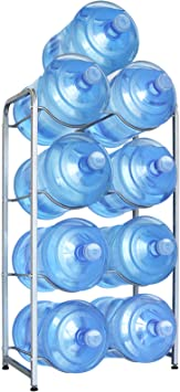 Ultrawesome Water Cooler Jug Rack for 5 Gal Water Bottle, 5 Gallon Water Bottle Rack Holder, 4-Tier Heavy Duty Water Bottle Holder Storage Rack for 5 Gallon Water Dispenser, Nano Steel, Space Saver
