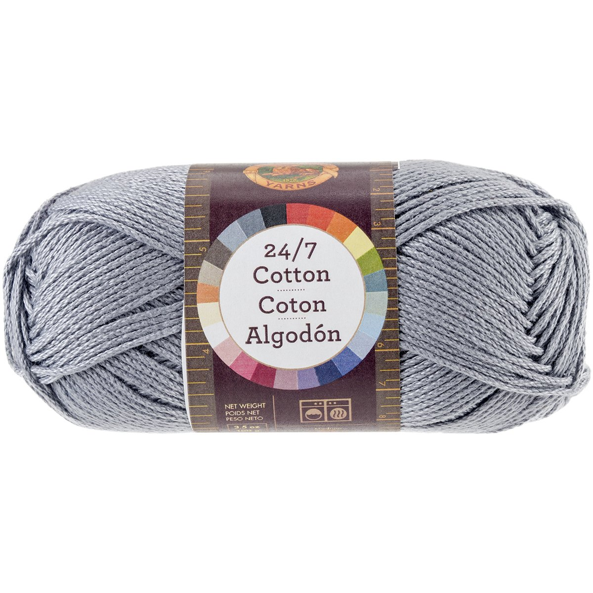 Lion Brand Yarn 761-149 24-7 Cotton Yarn, Silver