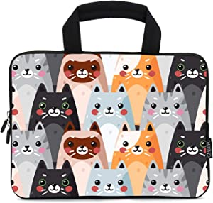 "12 Inch Laptop Sleeve Carrying Bag Protective Case Neoprene Sleeve Tote Tablet Cover Notebook Briefcase Bag with Handle for Women Men(Colorful Cats,12"")"